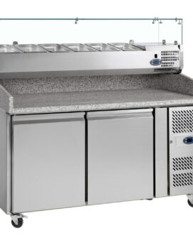 Tefcold PT1200 SS Stainless Steel Preparation 2-Door Counter Chiller