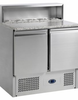 Tefcold PT920B Gastronorm Stainless Steel Pizza Preparation Counter 2-Door Chiller with Granite Worktop