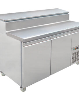 Mercatus S1-1470 SS Pizza Prep Gastronorm Stainless Steel Preparation Counter 2-Door Chiller