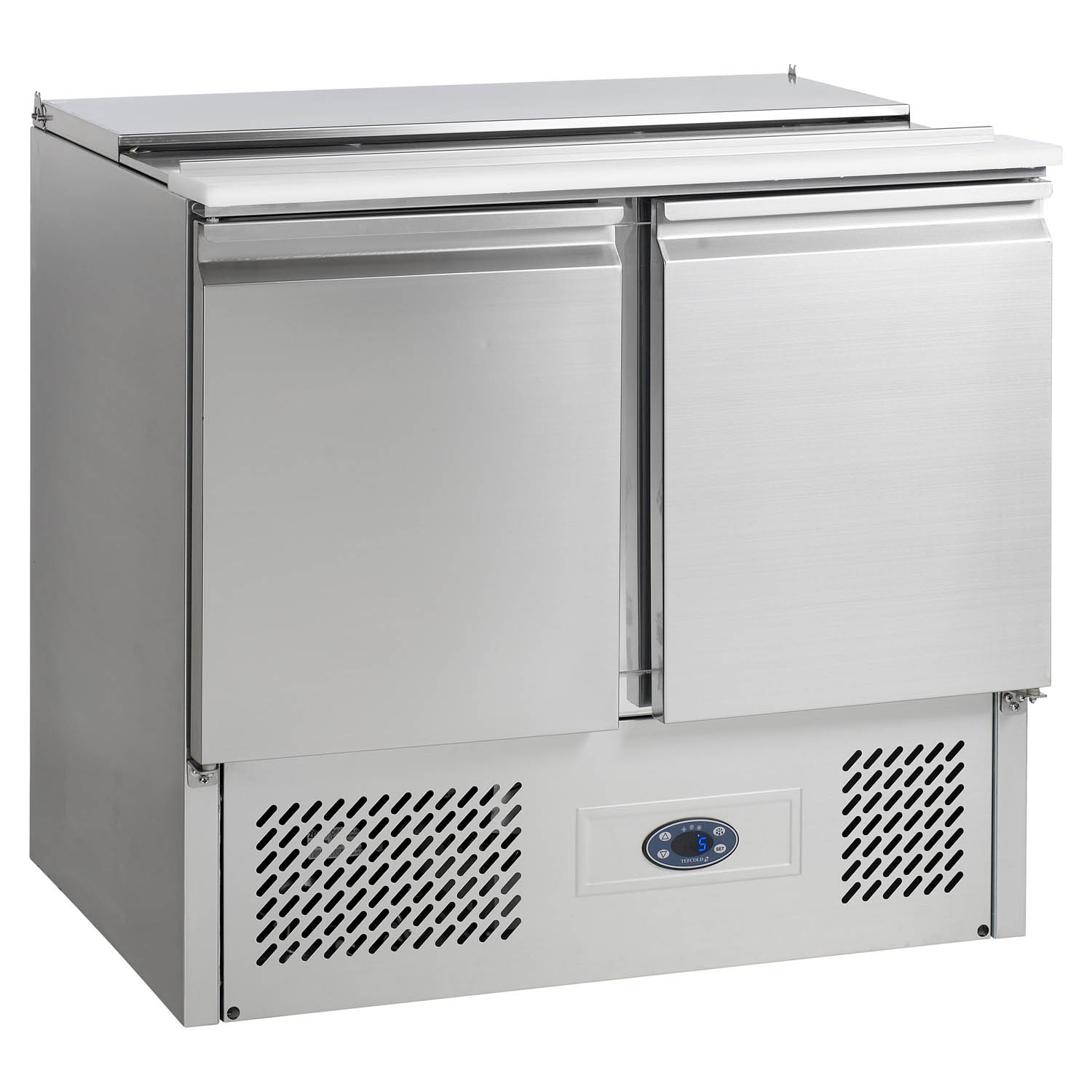 Tefcold SA920B Gastronorm Stainless Steel Saladette Counter 2-Door Chiller closed