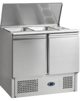 Tefcold SA920B Gastronorm Stainless Steel Saladette Counter 2-Door Chiller open