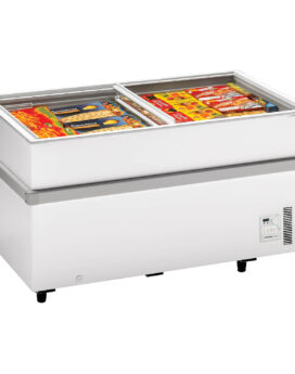 Arcaboa 750CHV Island Site Display Freezer with Flat Glass Sliding Lids