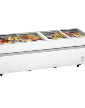Arcaboa 1100CHV Island Site Display Freezer with Flat Glass Sliding Lids