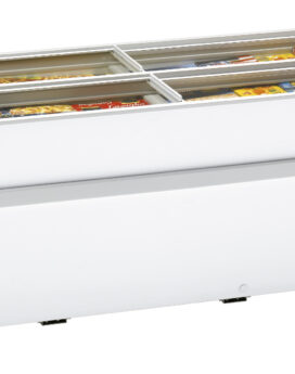 Arcaboa 1100CHV Island Site Display Freezer with Flat Glass Sliding Lids close