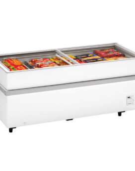 Arcaboa 900CHV Island Site Display Freezer with Flat Glass Sliding Lids