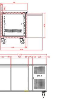 Tefcold CK7210 Gastronorm Counter 2-Door Chiller dims