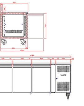 Tefcold CK7310B SS Gastronorm Counter 3-Door Chiller with Splashback dims