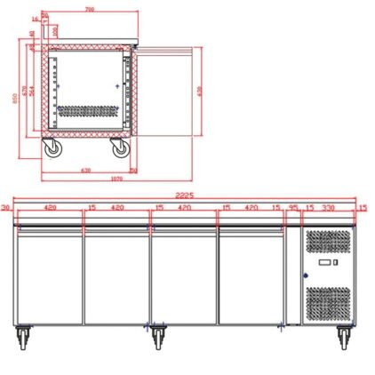 Tefcold CK7410B SS Gastronorm Counter 4-Door Chiller with Splashback dims