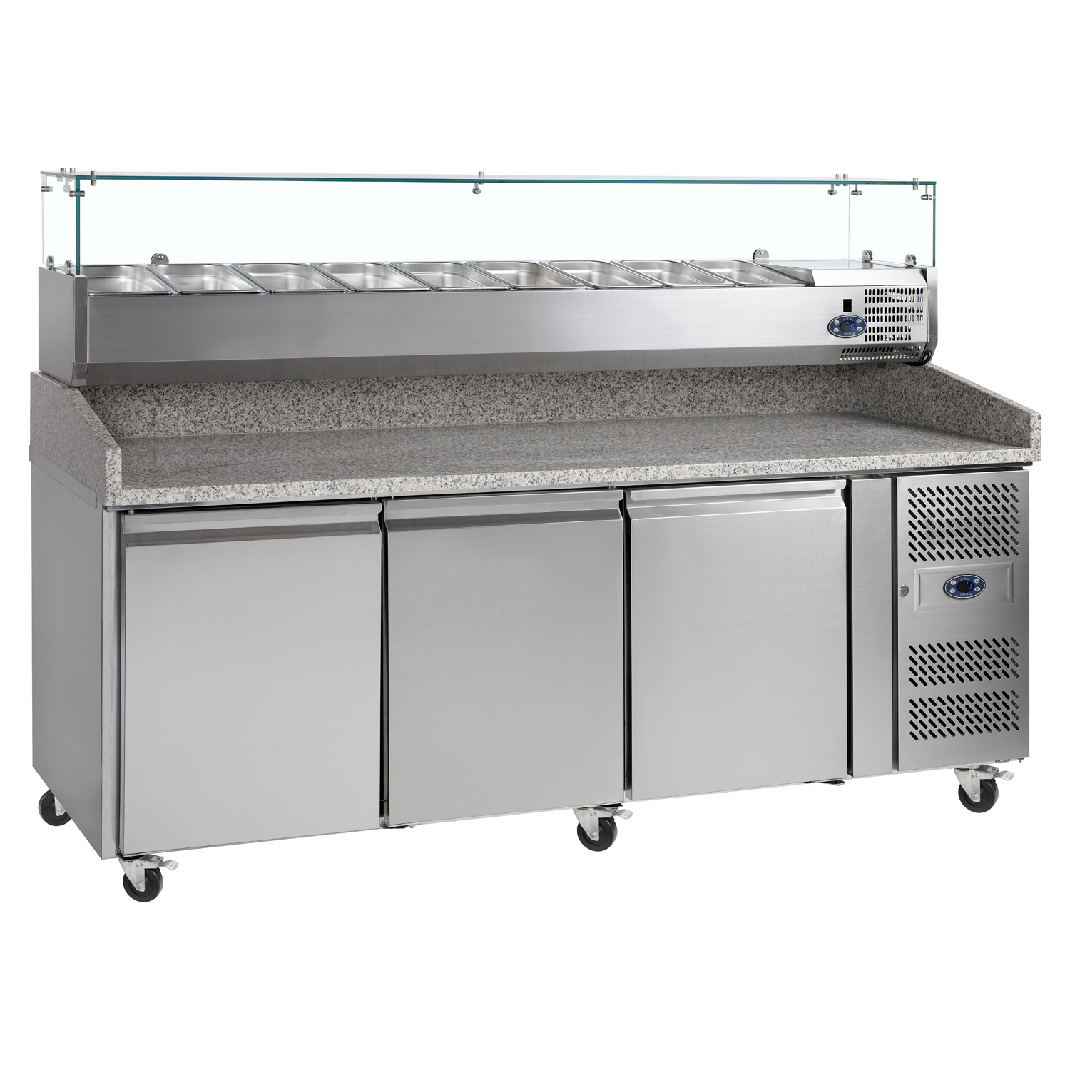 Tefcold PT1300 SS Stainless Steel Preparation 3-Door Counter Chiller