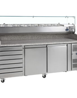 Tefcold PT1310 SS Stainless Steel Preparation 2-Door Counter Chiller with Ambient Dough Drawers