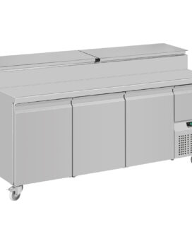 Mercatus S1-1980 SS Pizza Prep Gastronorm Stainless Steel Preparation Counter 3-Door Chiller