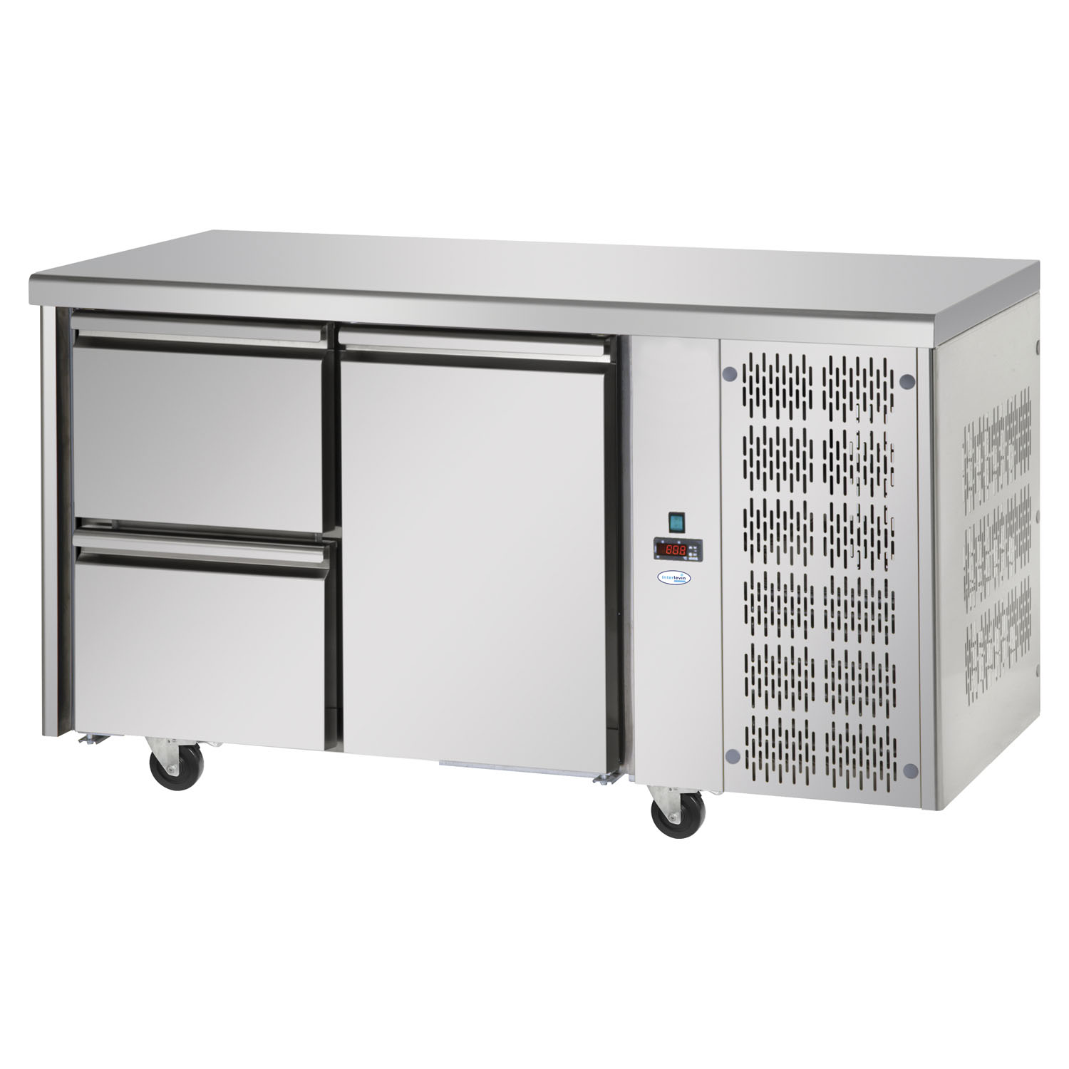 Interlevin Italia TF02 SS Gastronorm 2-Door Stainless Steel Counter Chiller opt