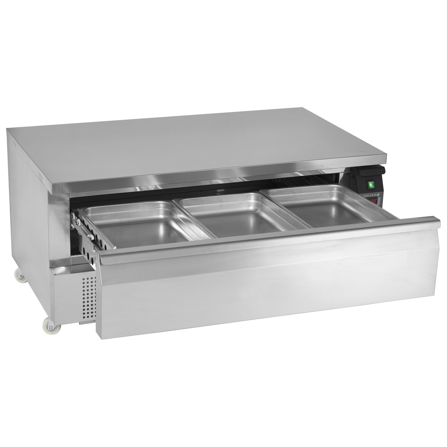 Tefcold Uni-Drawer UD1-3 Dual Temperature Gastronorm Stainless Steel Counter open
