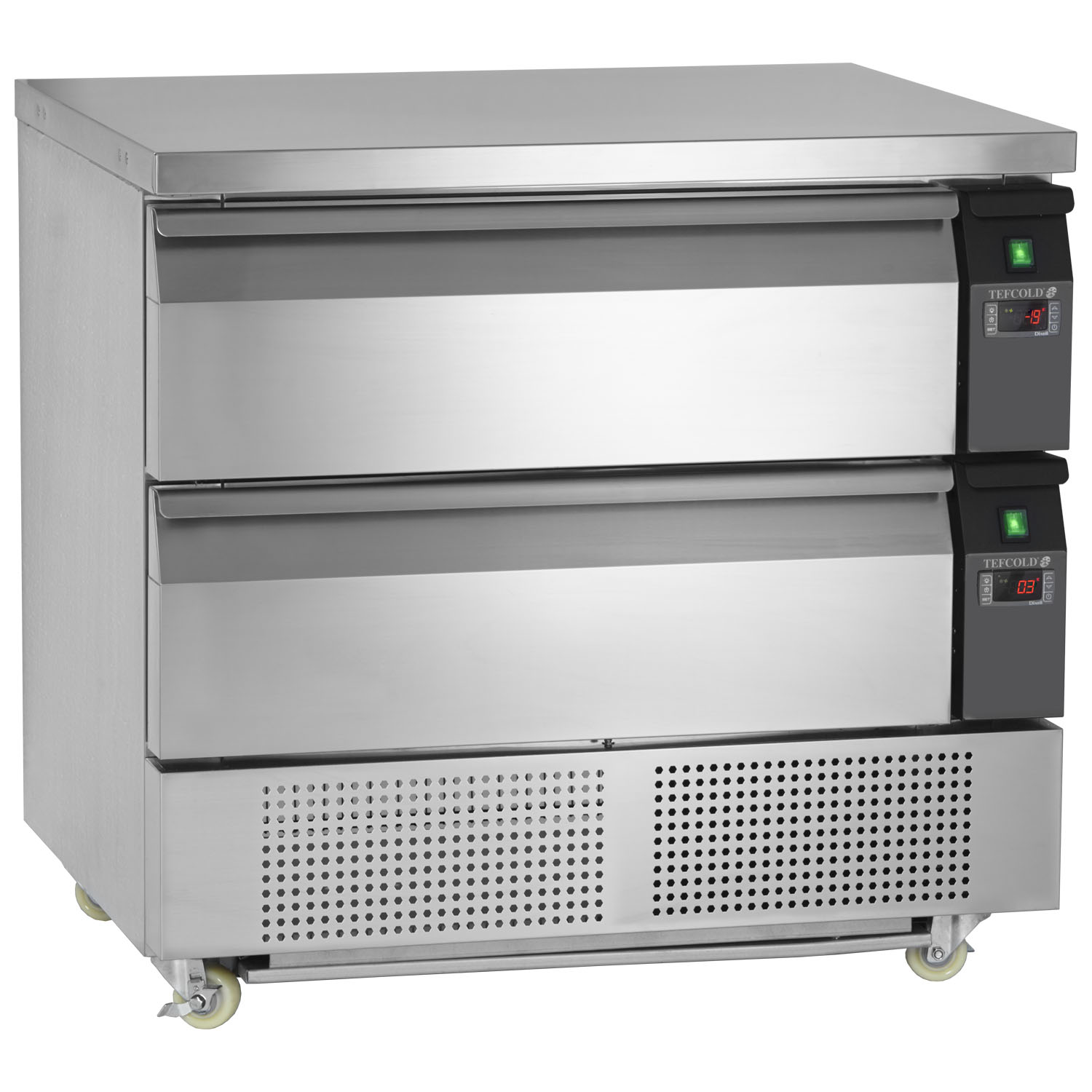 Tefcold Uni-Drawer UD2-2 Dual Temperature Gastronorm Stainless Steel Counter open