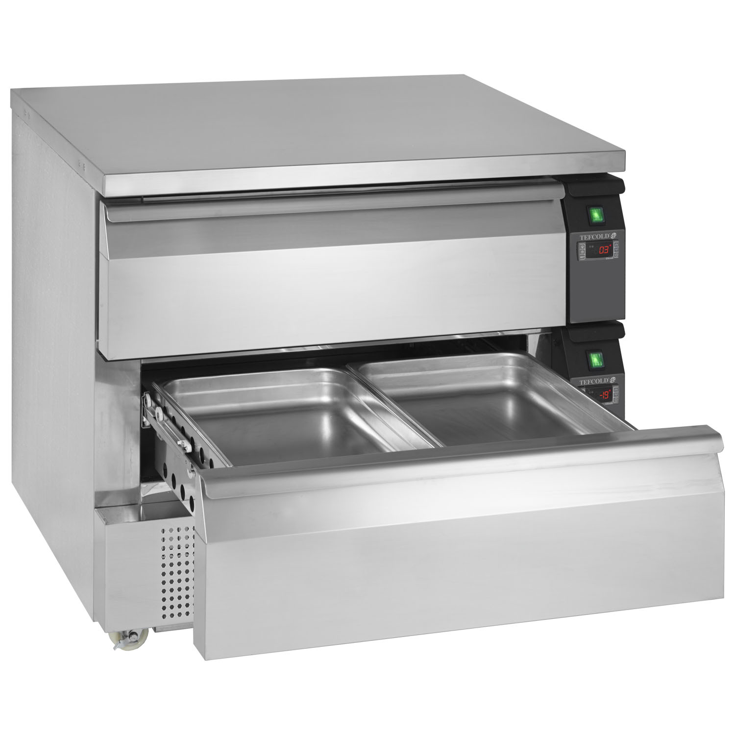 Tefcold Uni-Drawer UD2-2 Dual Temperature Gastronorm Stainless Steel Counter opn